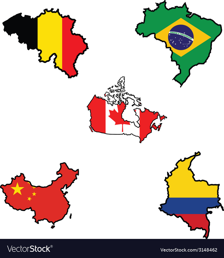 Flag in map of belgiumbrazilcanadachinacolombi vector | Price: 1 Credit (USD $1)
