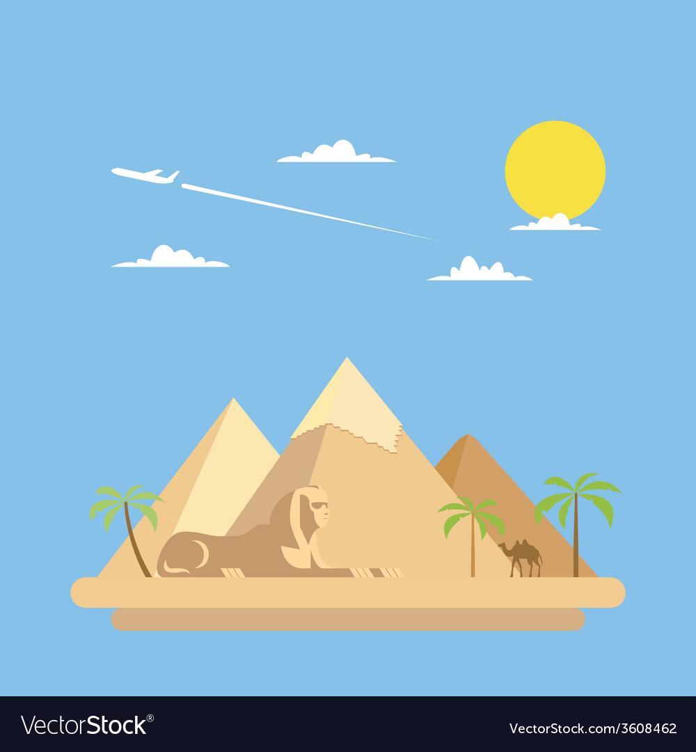 Flat design of pyramids giza vector | Price: 1 Credit (USD $1)