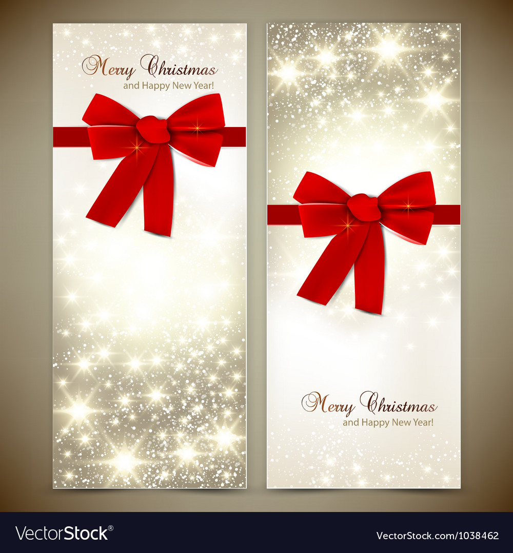 Greeting cards with red bows and copy space vector | Price: 1 Credit (USD $1)