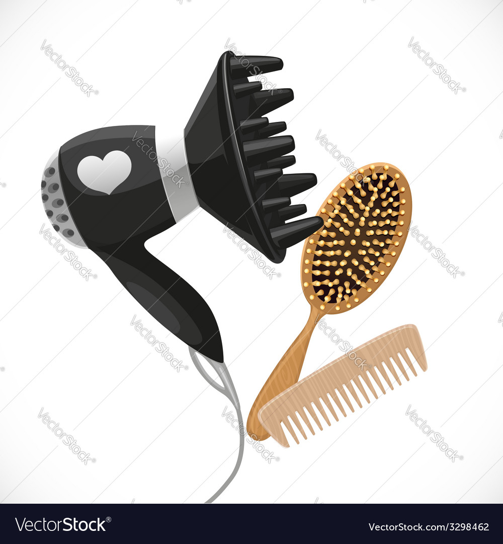 Hair dryer with diffuser and combs vector | Price: 3 Credit (USD $3)