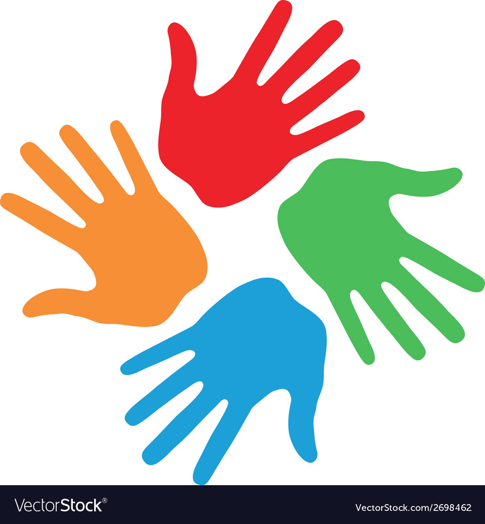 Hand print icon 4 colors vector | Price: 1 Credit (USD $1)