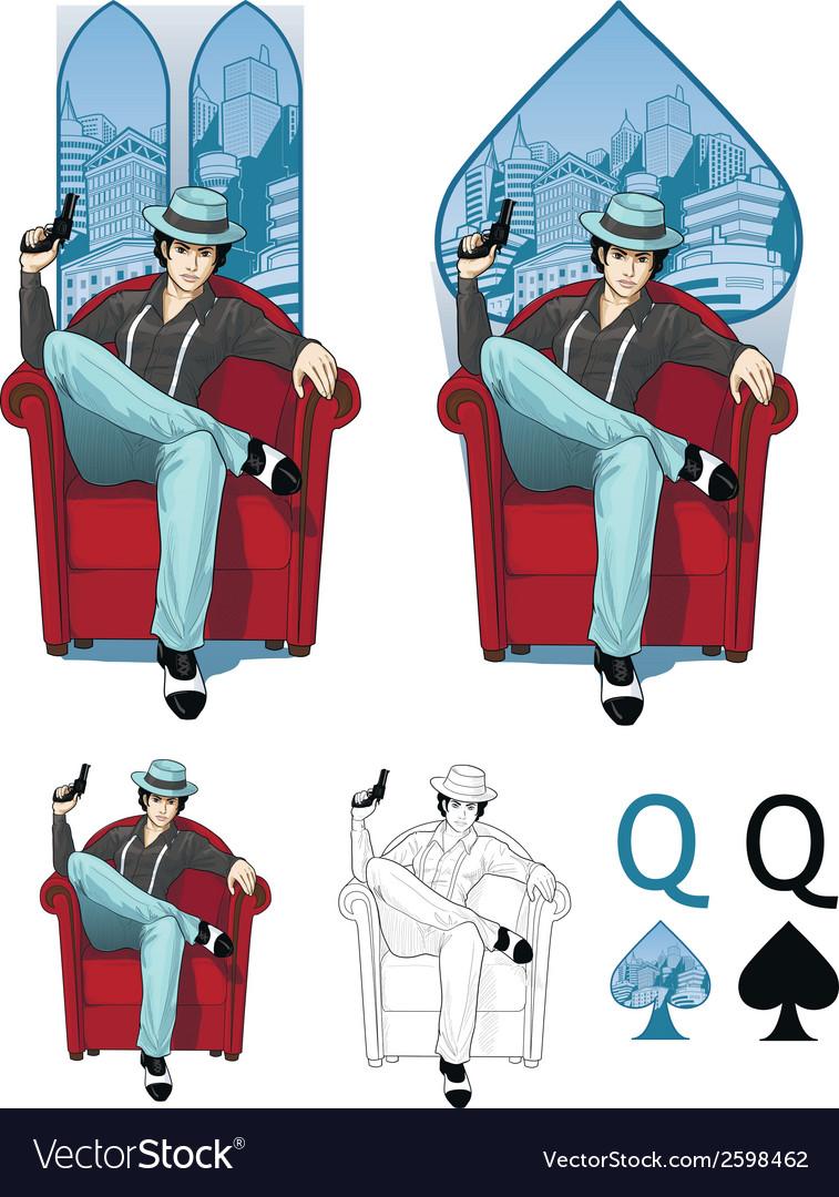 Queen of spades eastern mafioso woman mafia card vector | Price: 3 Credit (USD $3)