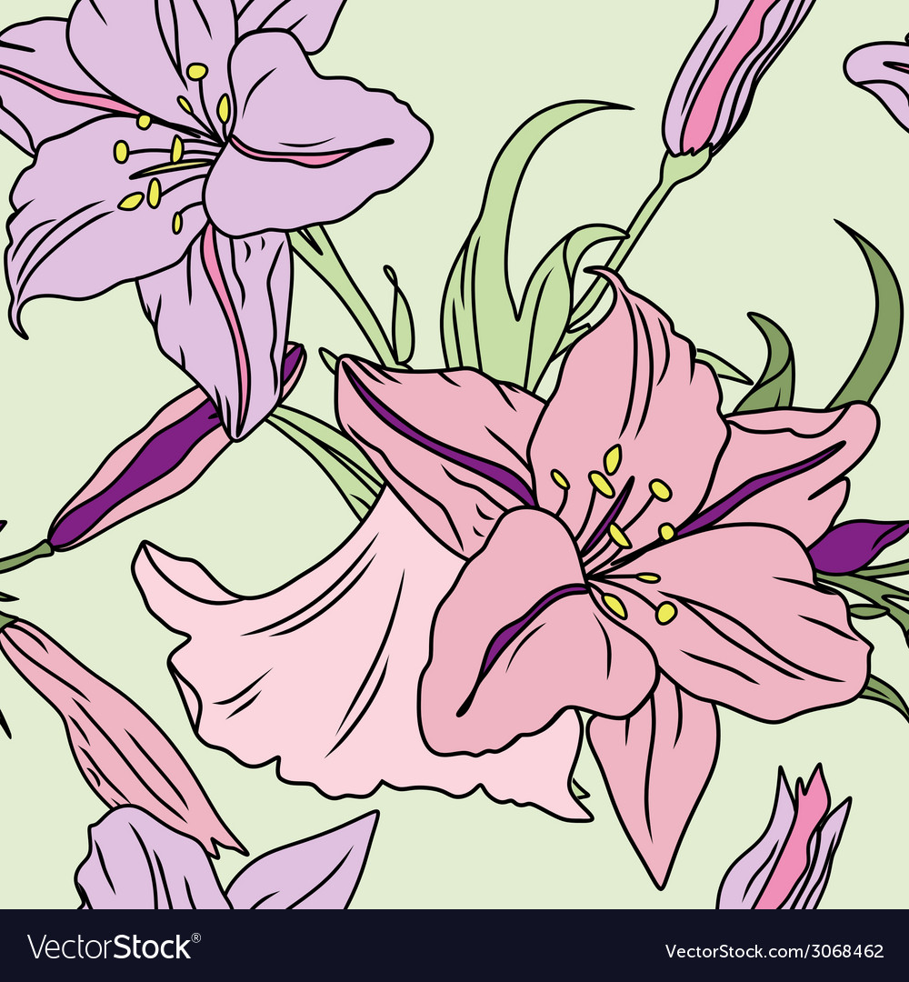 Seamless lily pattern vector | Price: 1 Credit (USD $1)