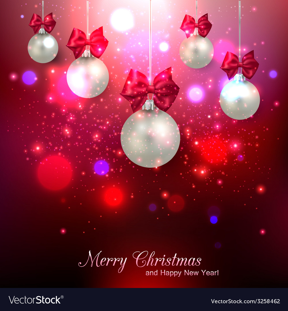 Shining red christmas background with silver balls vector | Price: 1 Credit (USD $1)