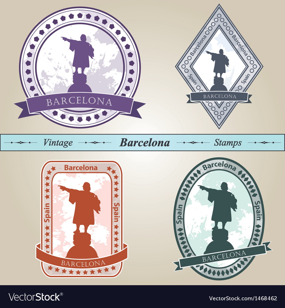 Vintage stamp barcelona vector | Price: 1 Credit (USD $1)