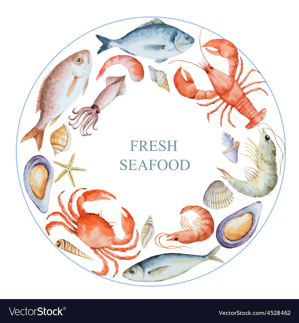 Watercolor set of seafood vector | Price: 1 Credit (USD $1)