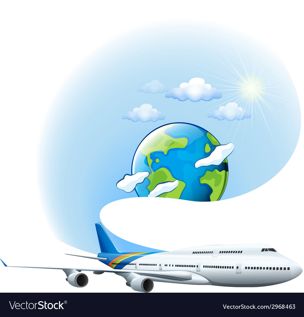 An airplane and a globe vector | Price: 1 Credit (USD $1)