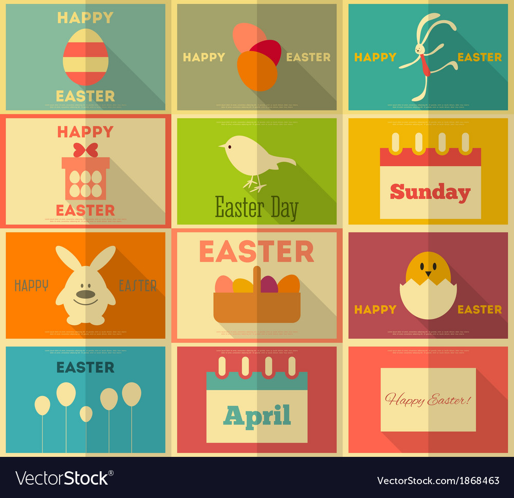 Easter retro posters vector | Price: 1 Credit (USD $1)