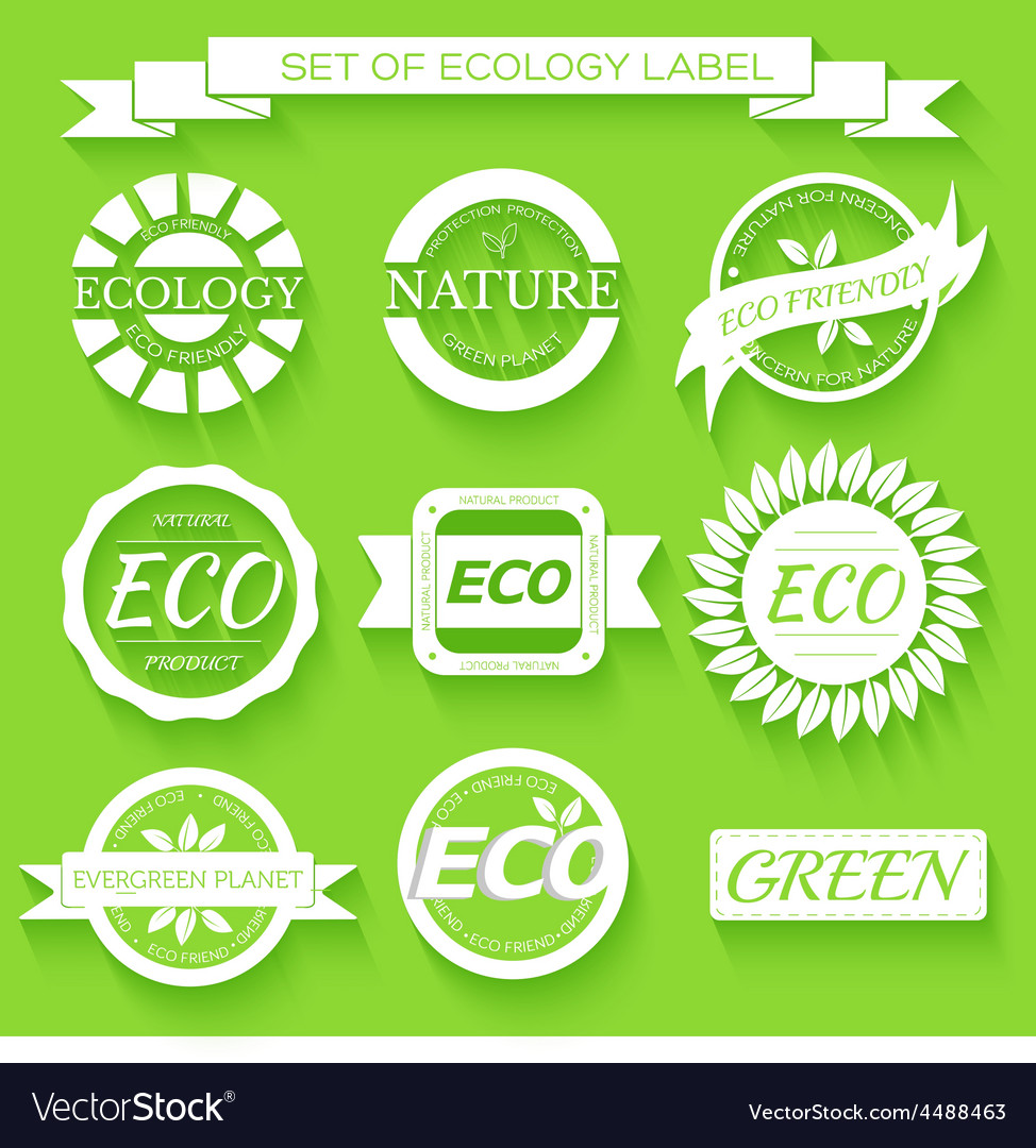 Eco nature organic white label on isoleted green vector | Price: 1 Credit (USD $1)