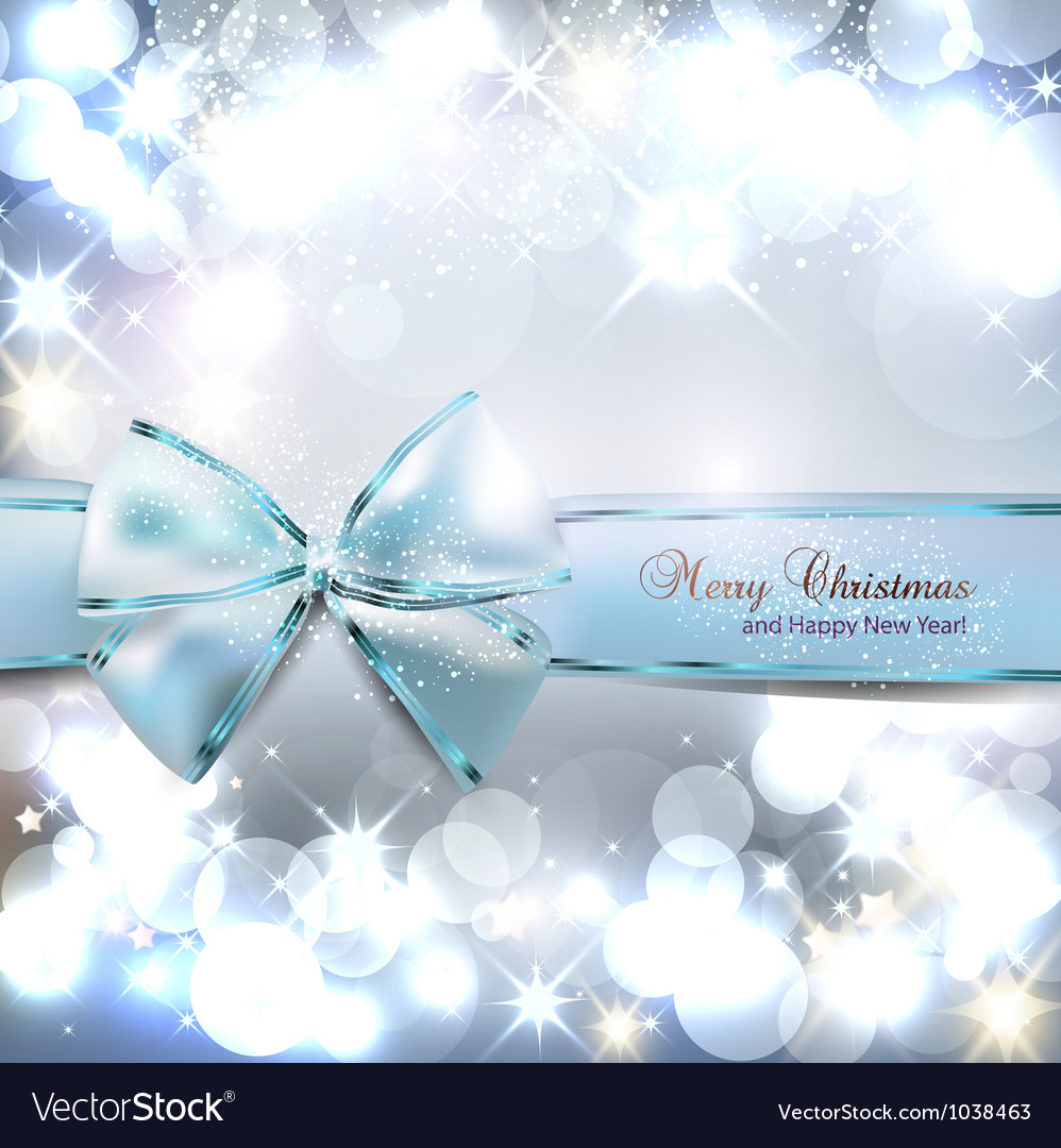 Elegant christmas background with blue bow and vector   Price: 1 Credit (USD $1)