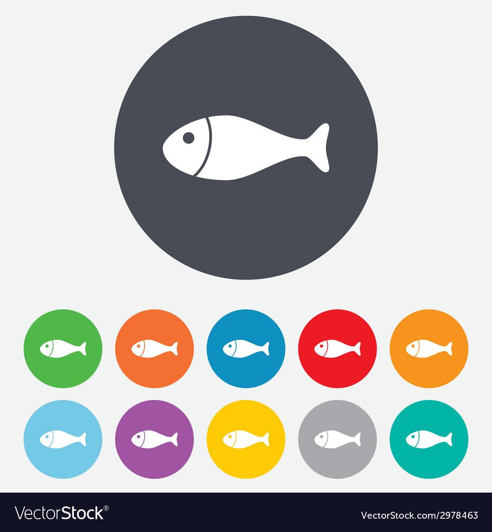 Fish sign icon fishing symbol vector | Price: 1 Credit (USD $1)