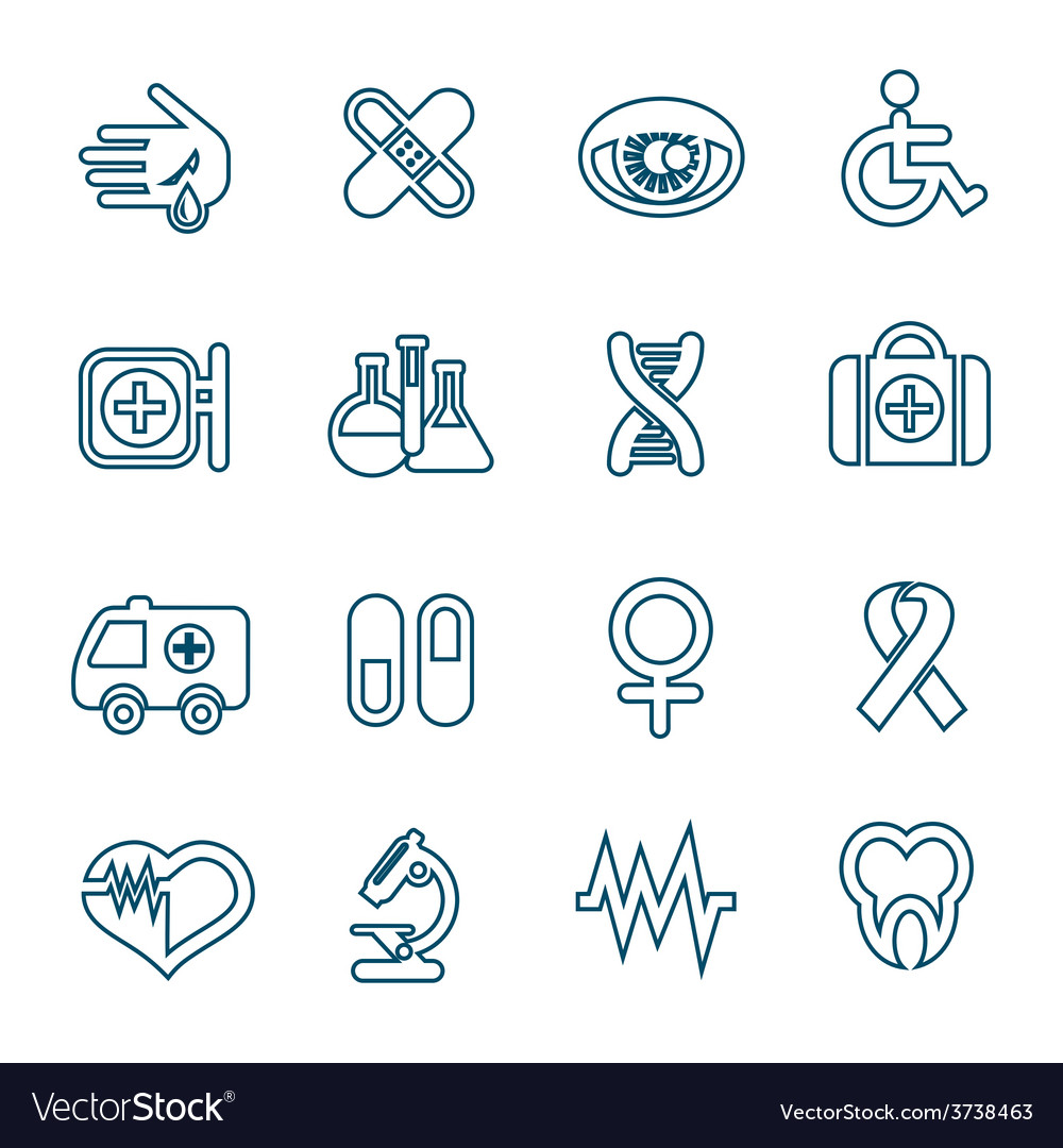 Flat line medical icons set vector | Price: 1 Credit (USD $1)