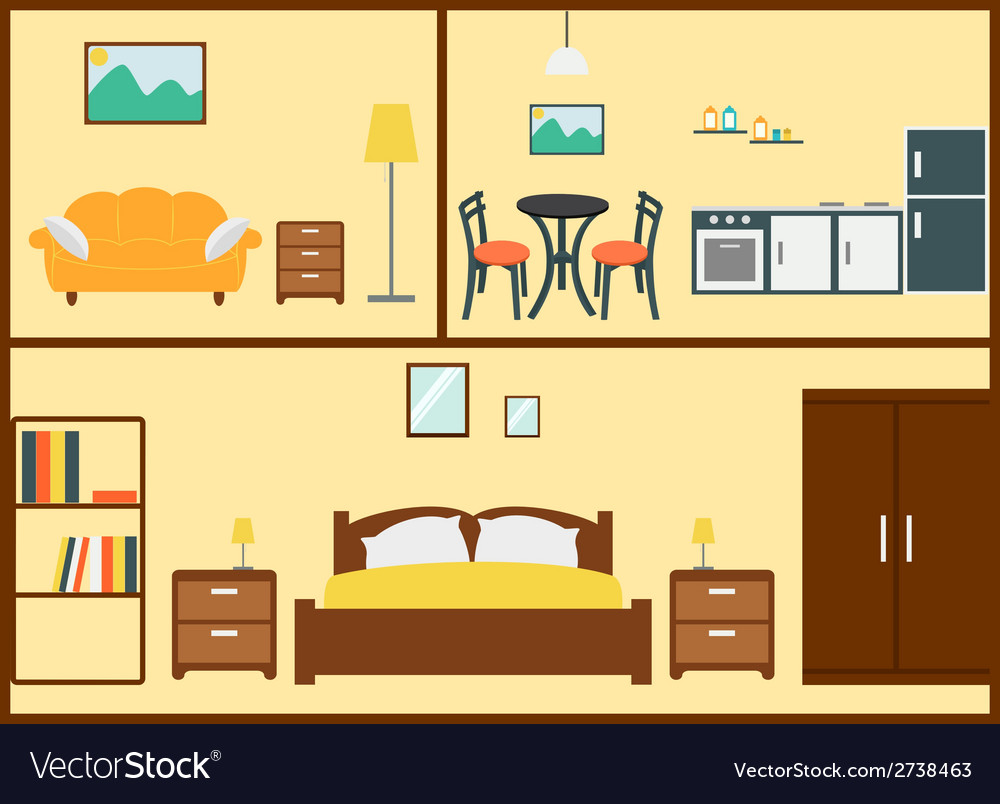 Home interior design vector | Price: 1 Credit (USD $1)