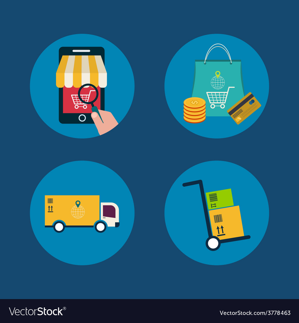 Icons of e-commerce symbols and internet shopping vector | Price: 1 Credit (USD $1)
