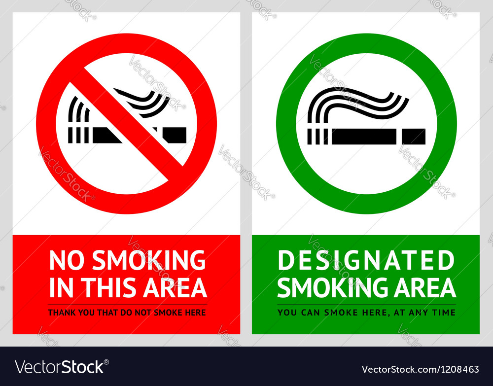 No smoking and smoking area labels - set 12 vector | Price: 1 Credit (USD $1)