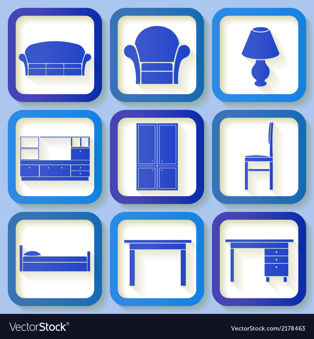 Set of 9 icons of house furniture vector | Price: 1 Credit (USD $1)