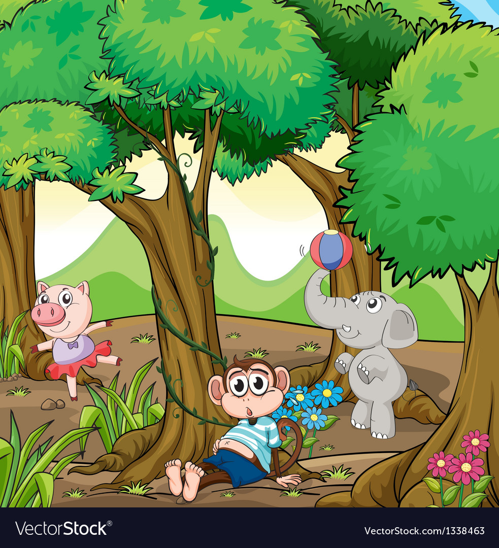 Three different kinds of animals playing at the vector | Price: 1 Credit (USD $1)