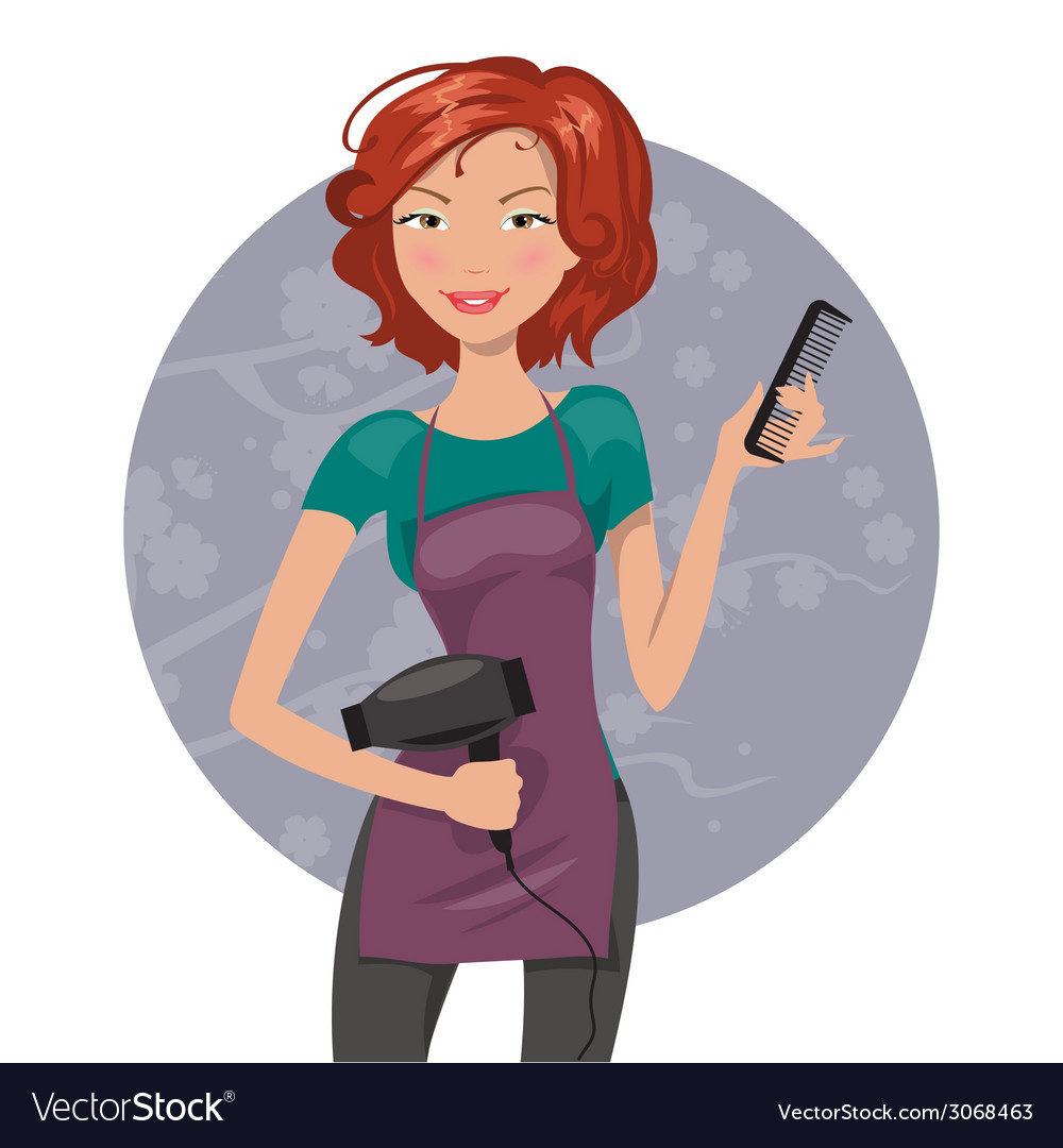 Woman hairdresser with hair dryer and comb vector | Price: 1 Credit (USD $1)