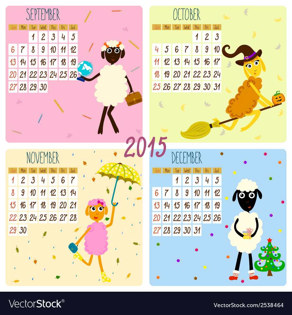 2015 calendar with cartoon and funny sheep autumn vector | Price: 1 Credit (USD $1)