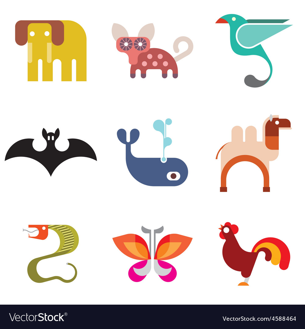 Animal icon set 9 vector | Price: 1 Credit (USD $1)