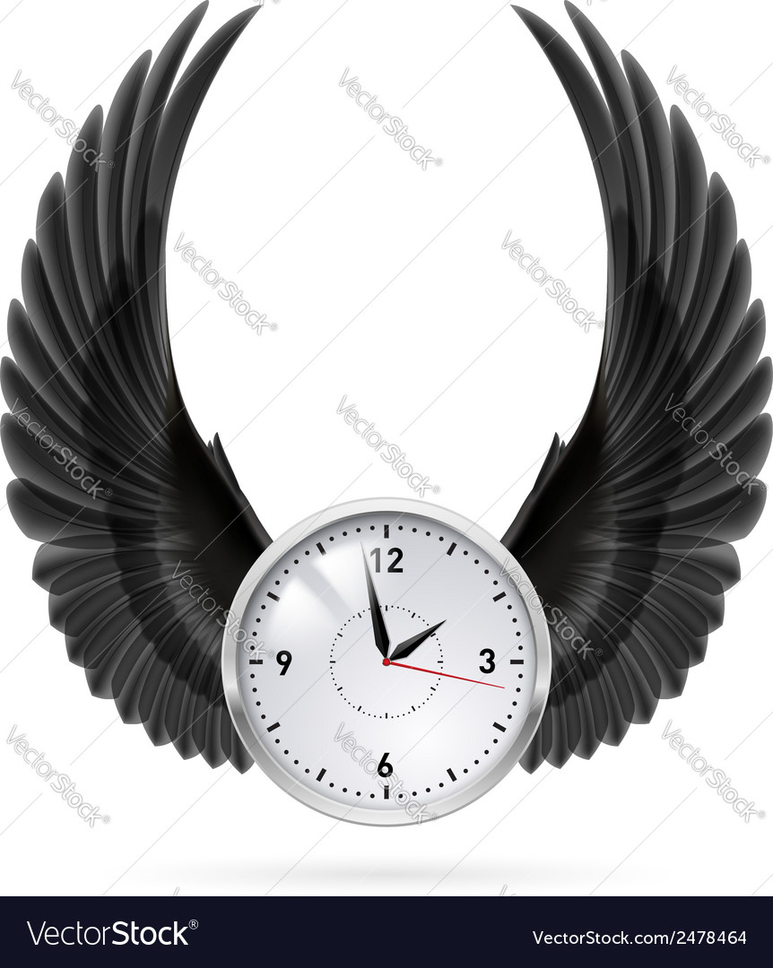 Black wings clock vector | Price: 1 Credit (USD $1)