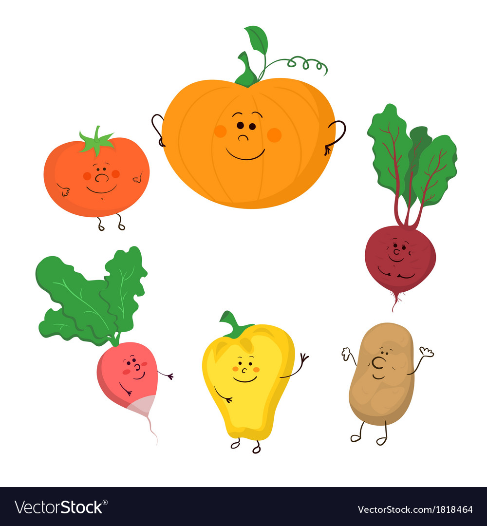 Cute funny vegetables set vector | Price: 1 Credit (USD $1)
