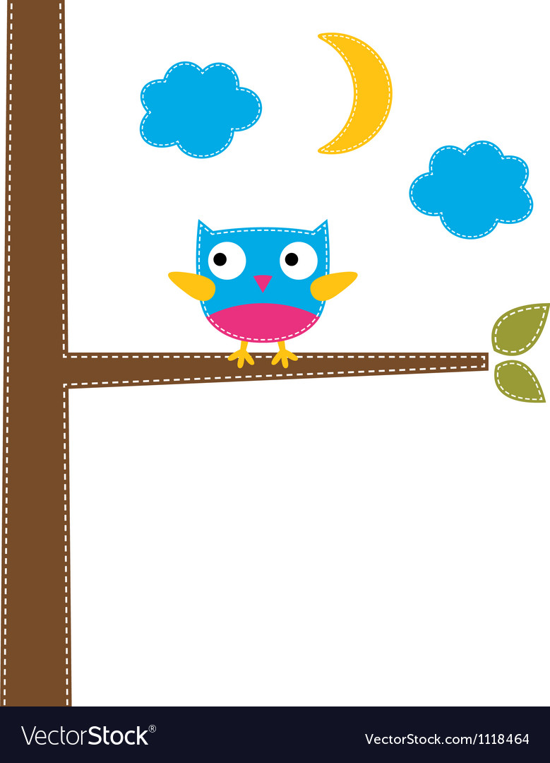 Cute owl card vector | Price: 1 Credit (USD $1)