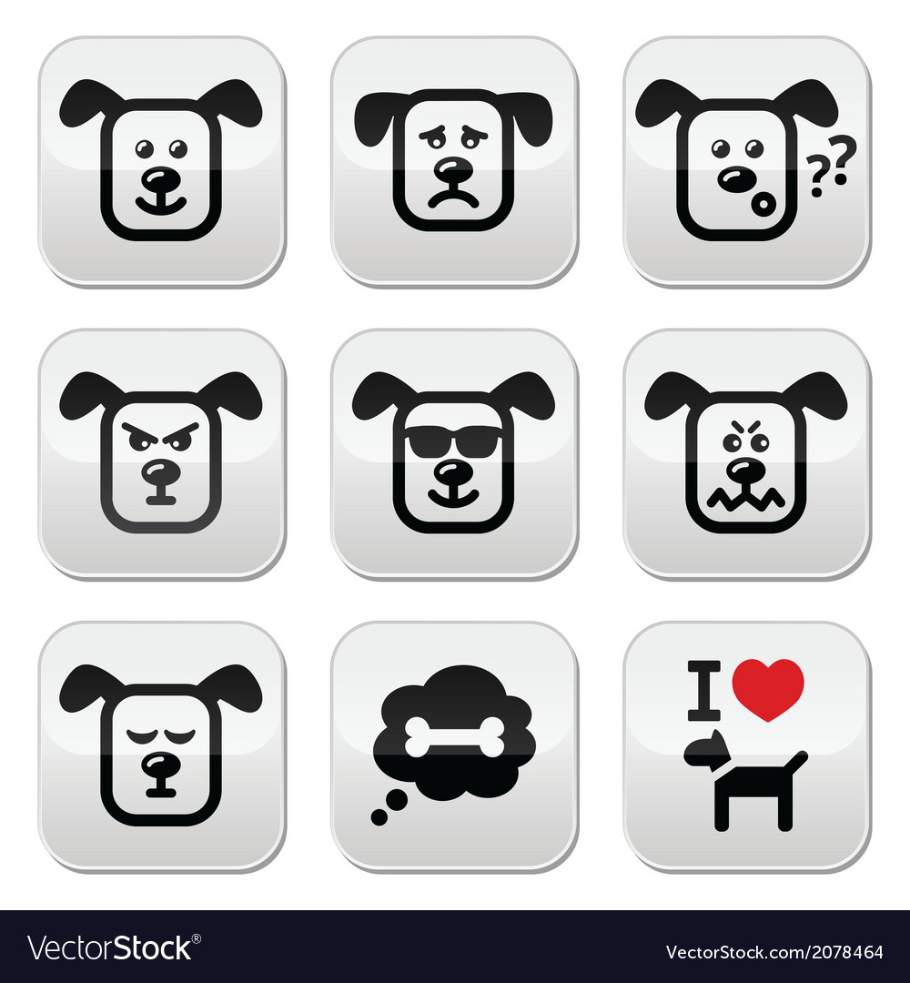 Dog buttons set - happy sad angry isolated on wh vector | Price: 1 Credit (USD $1)