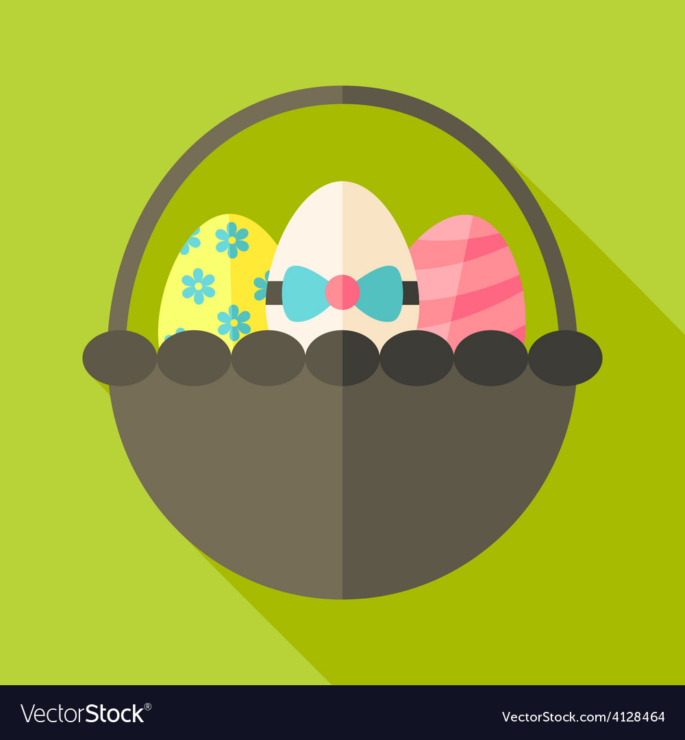 Easter basket with three eggs vector | Price: 1 Credit (USD $1)