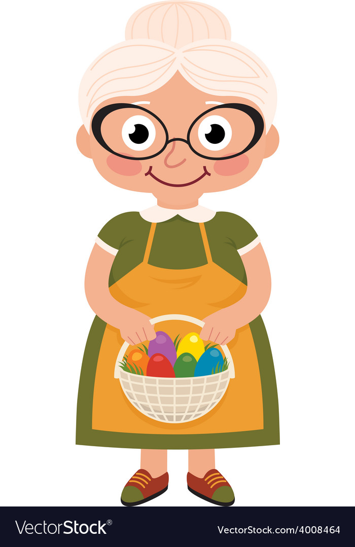 Grandmother with a basket of easter eggs vector | Price: 1 Credit (USD $1)