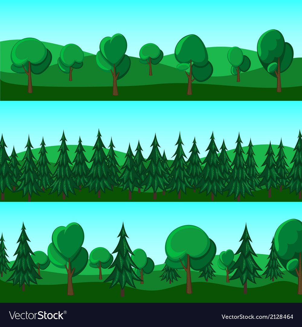 Horizontal cartoon banners of hills and trees vector | Price: 1 Credit (USD $1)