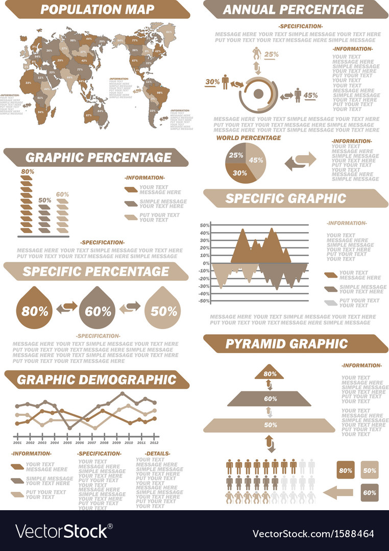 Infographic demographic elements new brown vector | Price: 1 Credit (USD $1)