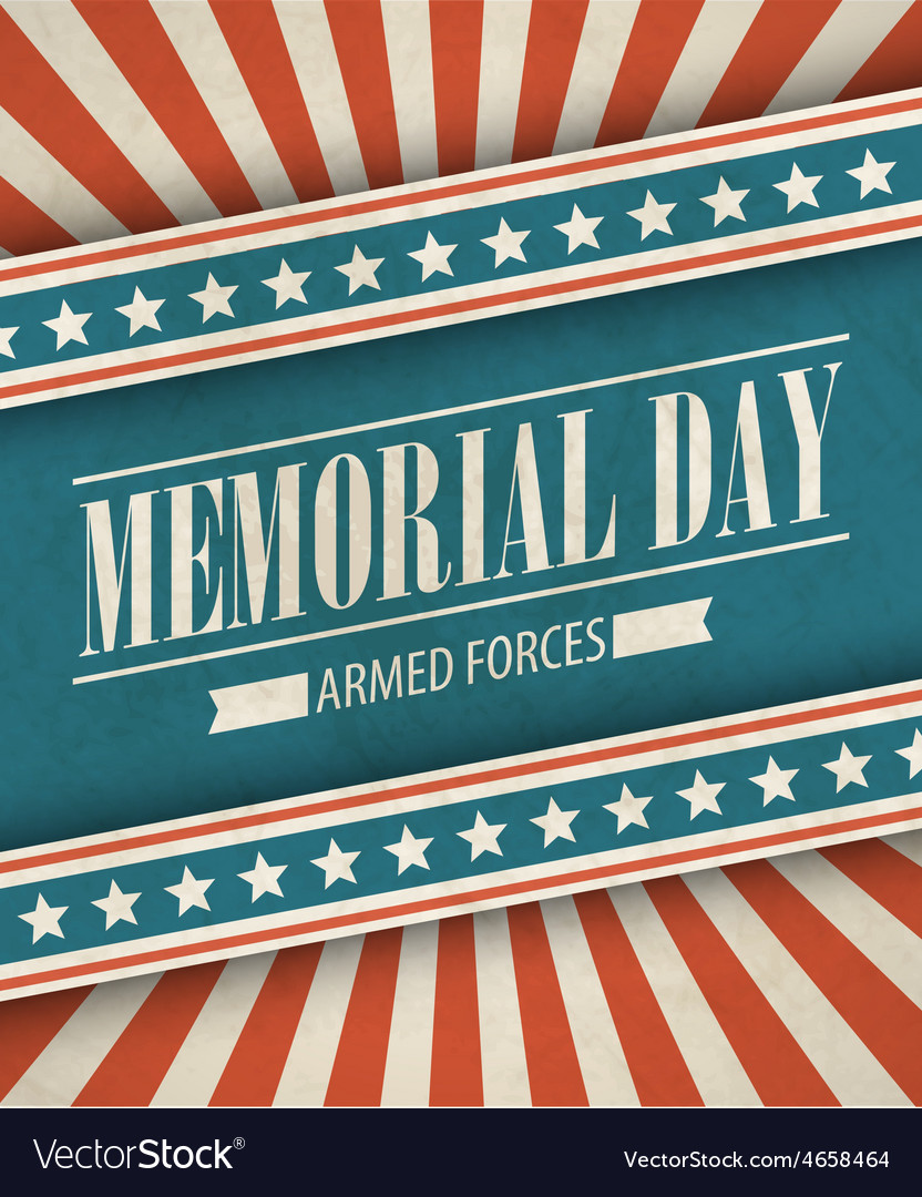 Memorial day typographic card with the american vector | Price: 1 Credit (USD $1)