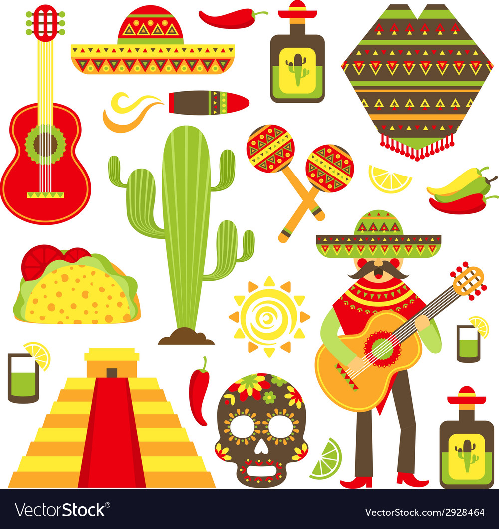 Mexico decorative icons set vector | Price: 1 Credit (USD $1)