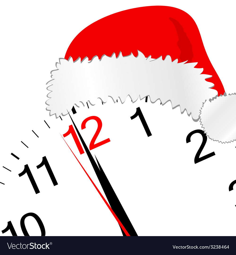 New year 2012 with clock and red hat vector | Price: 1 Credit (USD $1)