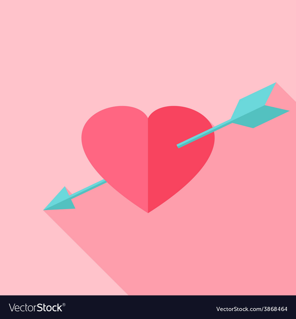 Pink heart with arrow vector | Price: 1 Credit (USD $1)