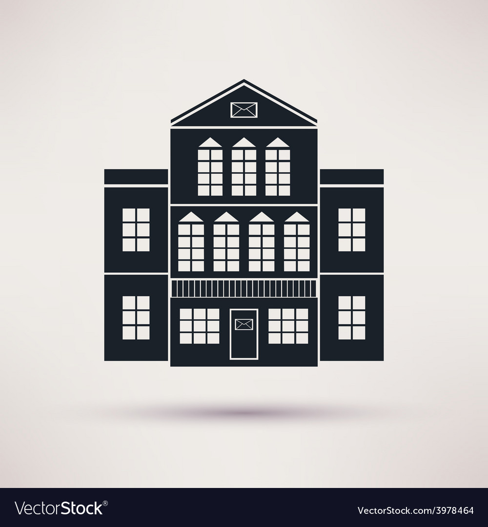 Post office the building is an icon flat vector | Price: 1 Credit (USD $1)