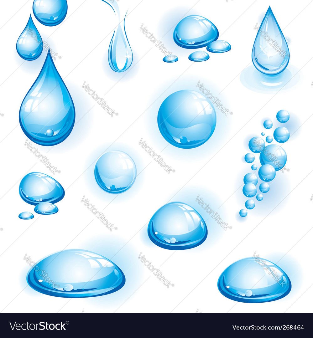 Set of water drops vector | Price: 1 Credit (USD $1)