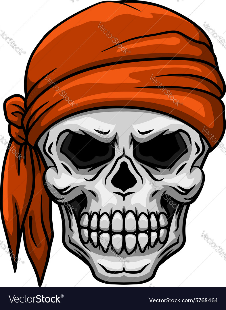 Skull in orange bandana vector | Price: 1 Credit (USD $1)