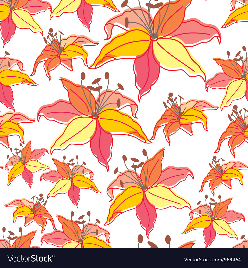 Stylish beautiful bright floral seamless pattern vector | Price: 1 Credit (USD $1)