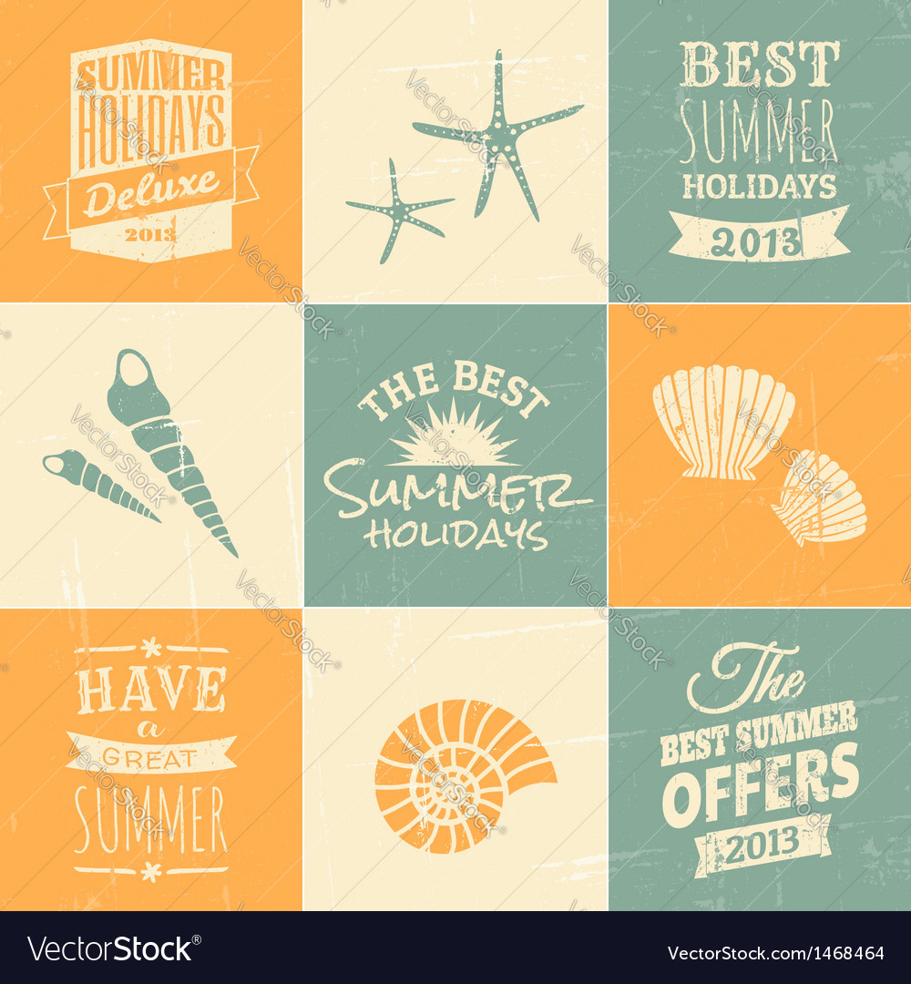 Summer typographic design elements and icons vector | Price: 1 Credit (USD $1)