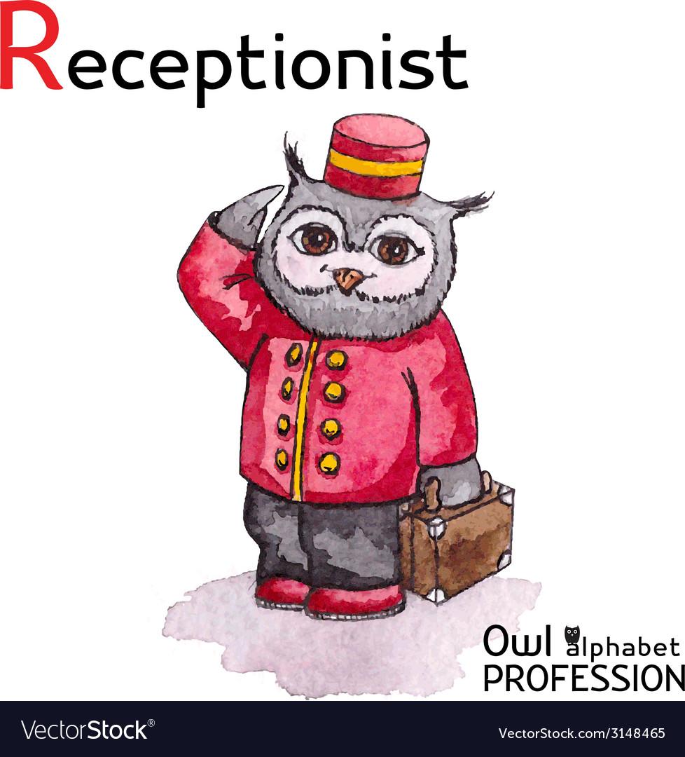 Alphabet professions owl letter r - receptionist vector | Price: 1 Credit (USD $1)
