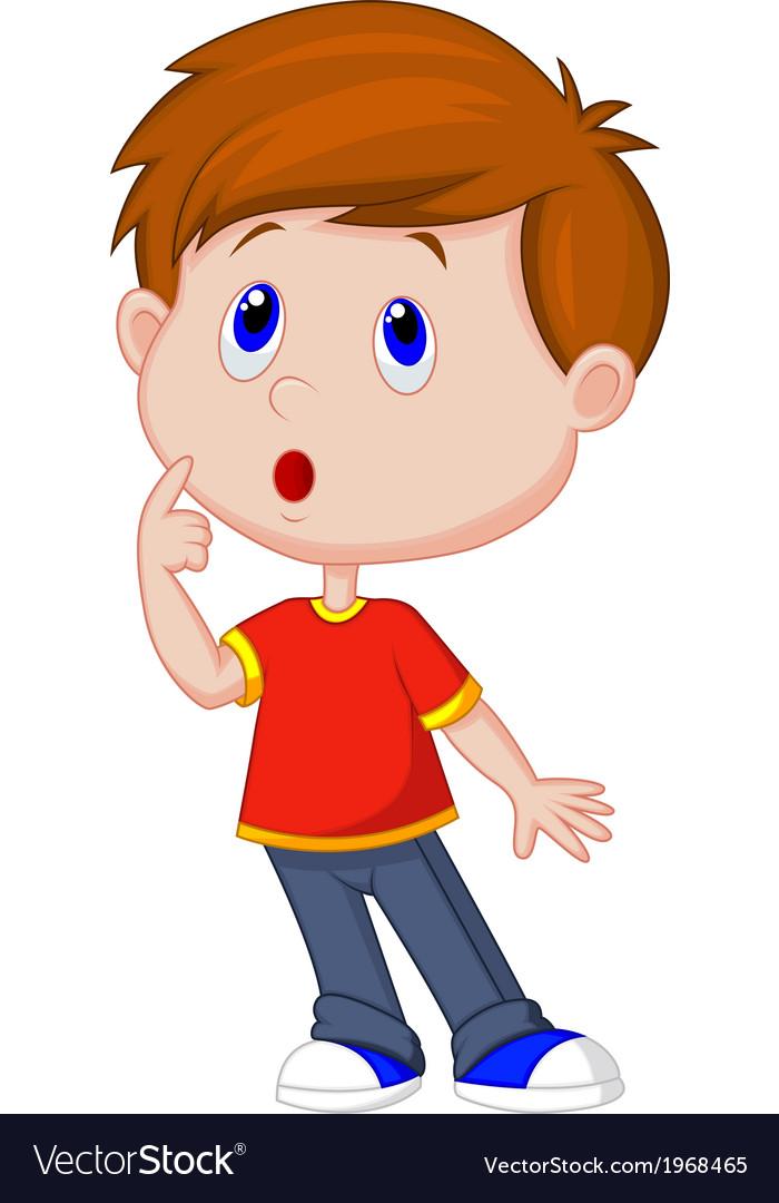 Cute boy cartoon thinking vector | Price: 1 Credit (USD $1)