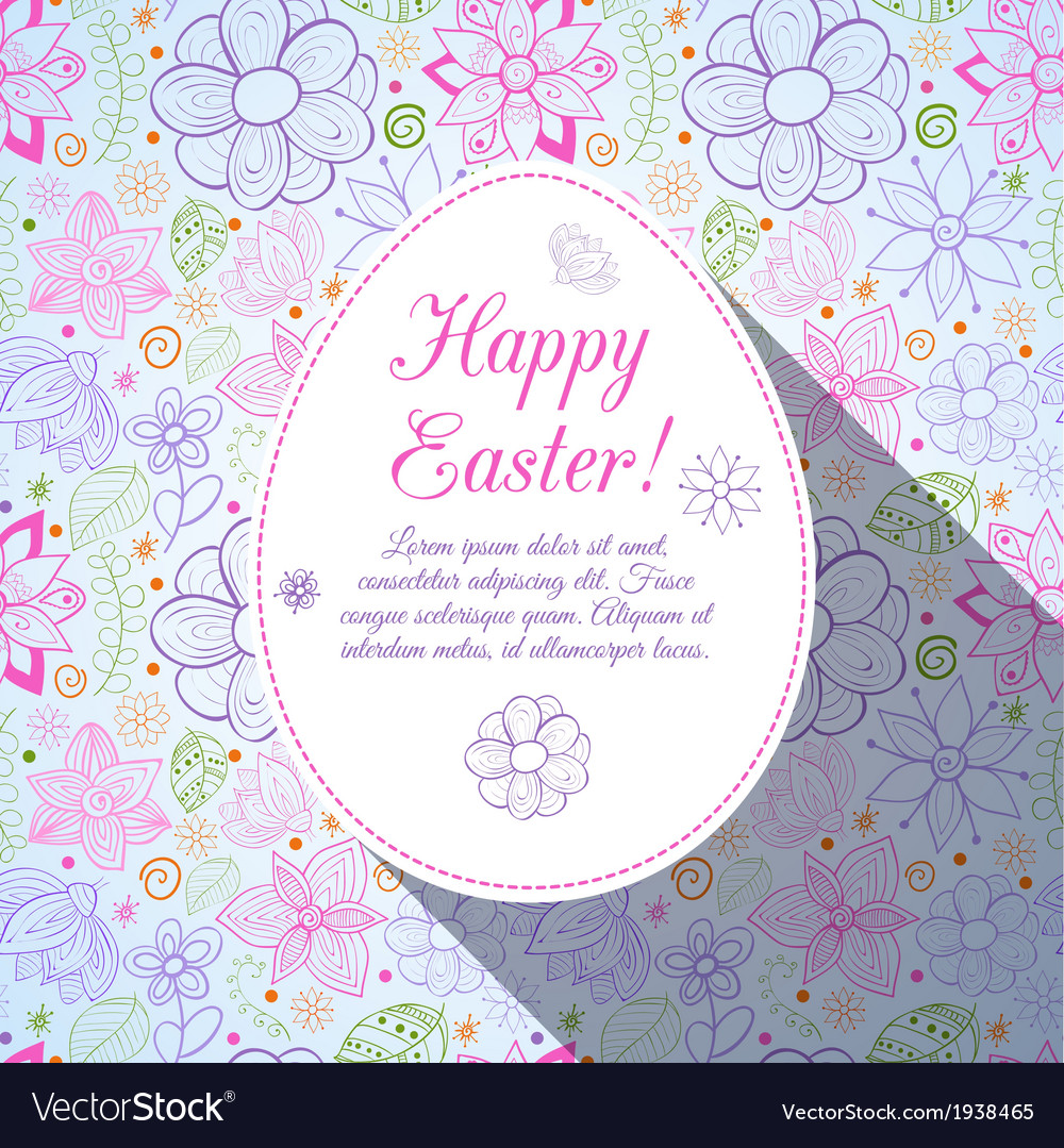 Easter flowers egg background doodles ornament for vector | Price: 1 Credit (USD $1)
