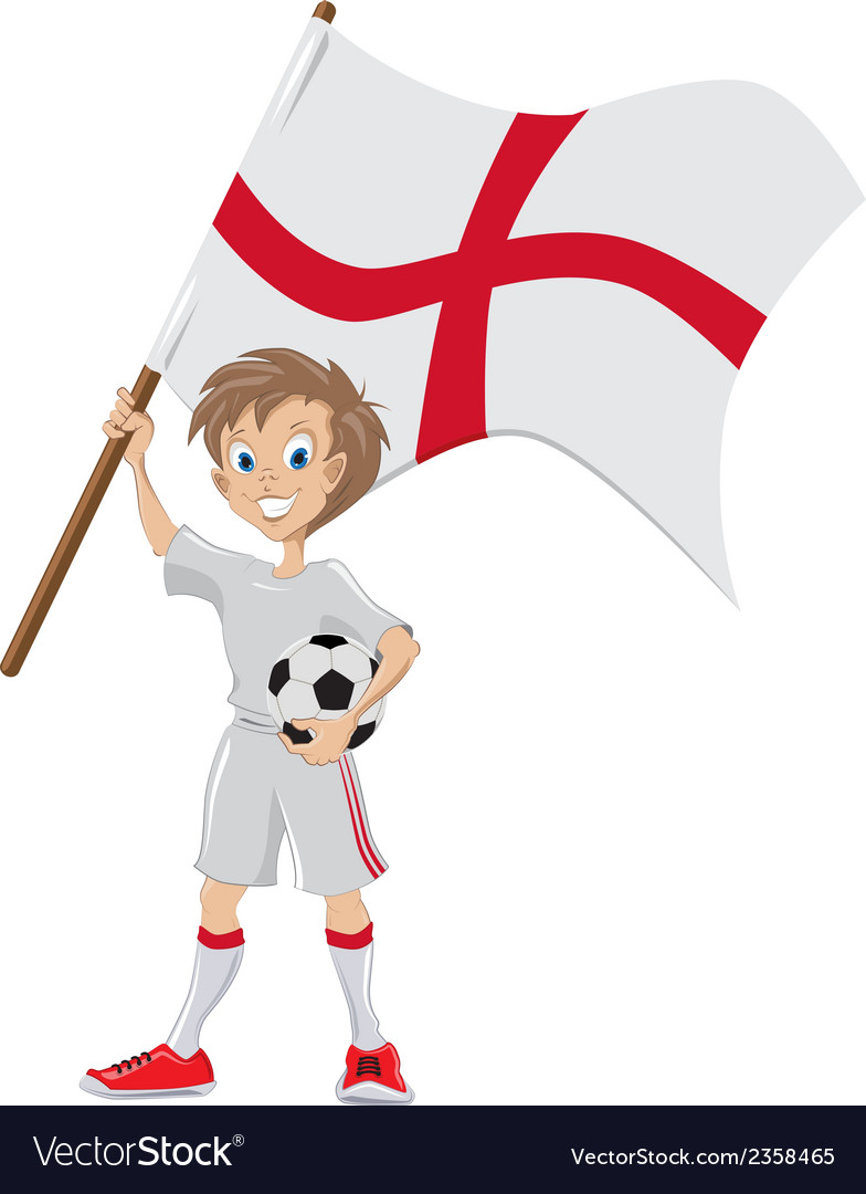 Happy soccer fan holds english flag vector | Price: 1 Credit (USD $1)