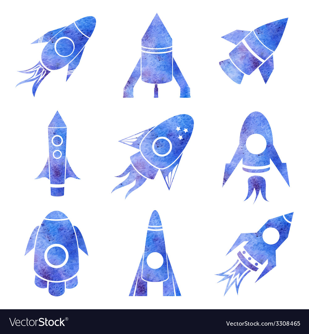 Watercolor rockets icons set vector | Price: 1 Credit (USD $1)