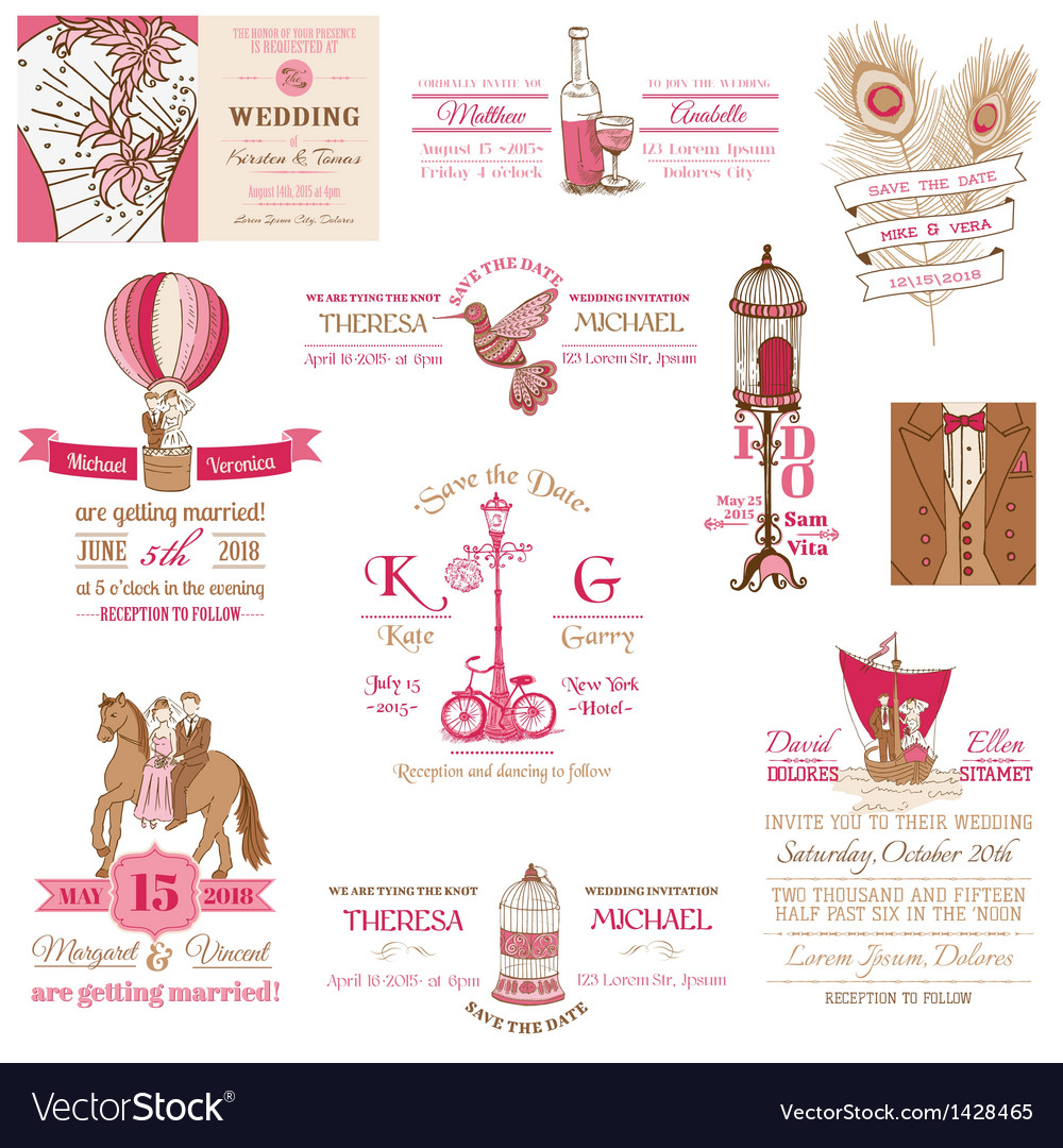 Wedding vintage invitation collection vector | Price: 3 Credit (USD $3)