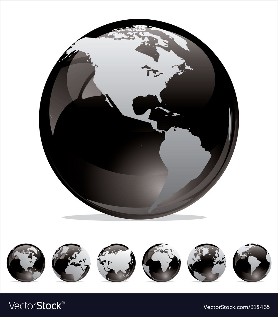 World map globe collection vector | Price: 1 Credit (USD $1)