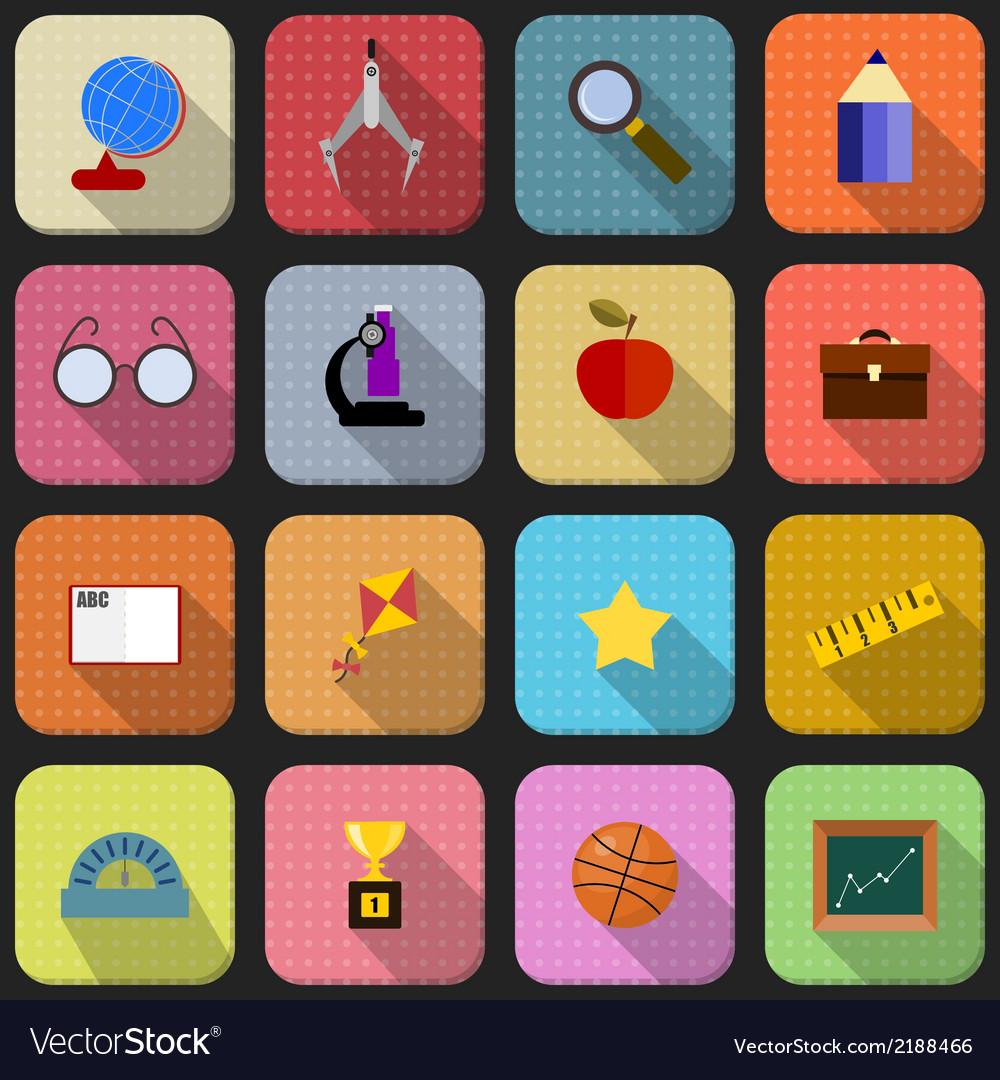 16 flat icons for school vector | Price: 1 Credit (USD $1)