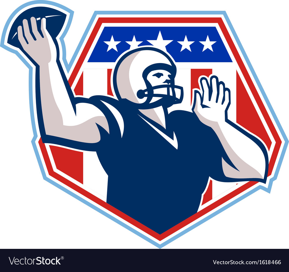American football quarterback shield vector | Price: 1 Credit (USD $1)